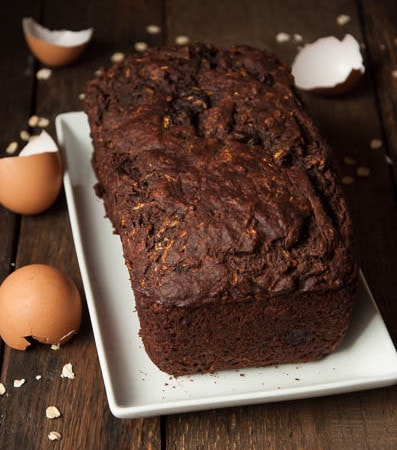 Chocolate Zucchini Bread - packed with healthy ingredients like 100% whole wheat flour, oats, banana, and yogurt - but you can't tell from the taste!