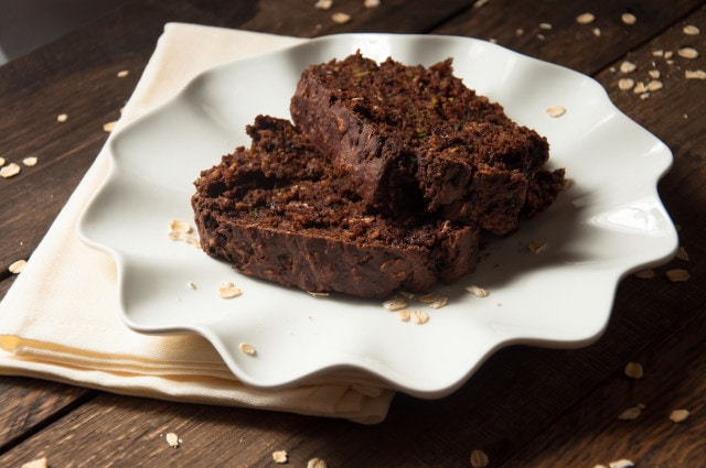 This chocolate zucchini bread is packed with healthy ingredients like 100% whole wheat flour, oats,  banana, and yogurt - but you can't tell from the taste!