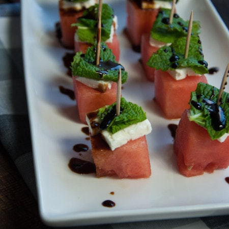 Watermelon Feta Mint Skewers with Balsamic Glaze