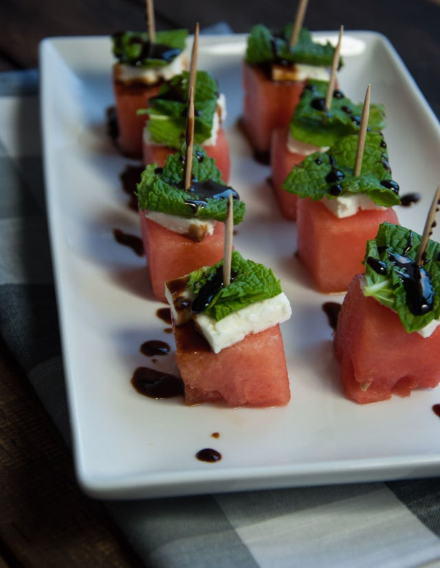 These watermelon feta mint skewers are refreshing as is, but the tangy ...