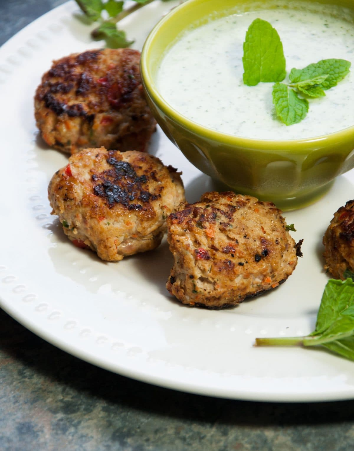 Greek Turkey Meatballs with Yogurt Mint Sauce - Feasting not Fasting