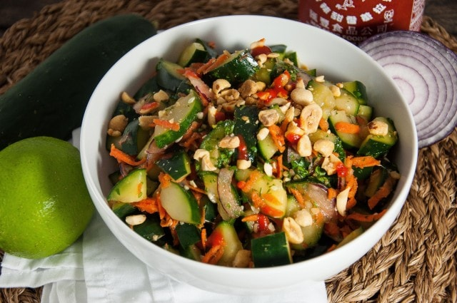Thai cucumber salad with tangy lime, fresh cilantro and a hint of spice will rock your taste buds. Perfect paired with other Thai dishes or on its own- Yum!