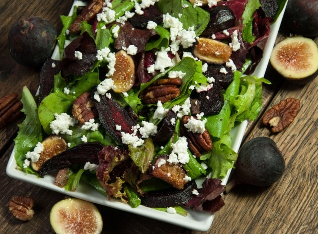 Simple and elegant beet salad with feta and roasted figs is an easy to make fall favorite that pairs well with any main dish.