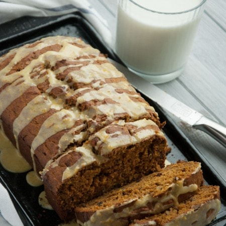 Healthy Pumpkin Bread with Orange Glaze