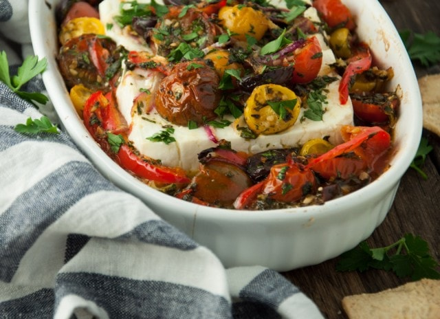 Baked Feta with Tomatoes and Olives - Feasting not Fasting