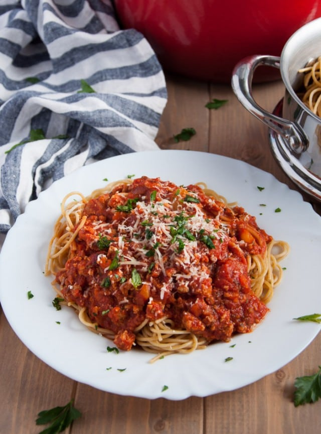 This homemade spaghetti sauce recipe is lightened up with ground turkey, but is so flavorful you'd never know it!