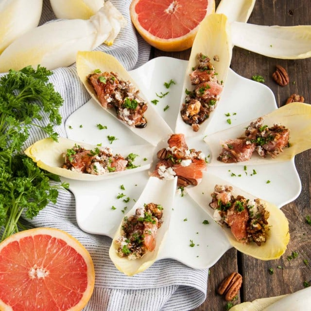 Endives are the fancy way to do salad! They're loaded with Vitamin A and pairing with grapefruit, feta, and pecans makes for a fresh, healthy  appetizer.