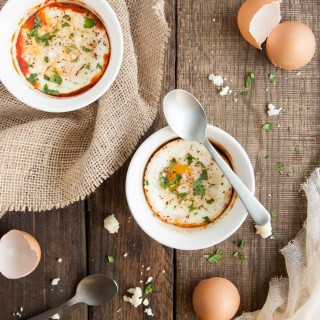 Easy and delicious baked eggs in salsa are an effortless fun, spicy twist on breakfast. Baking in ramekins makes for perfect portion control too!