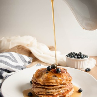 Whole Wheat Yogurt Pancakes (with blueberries!)