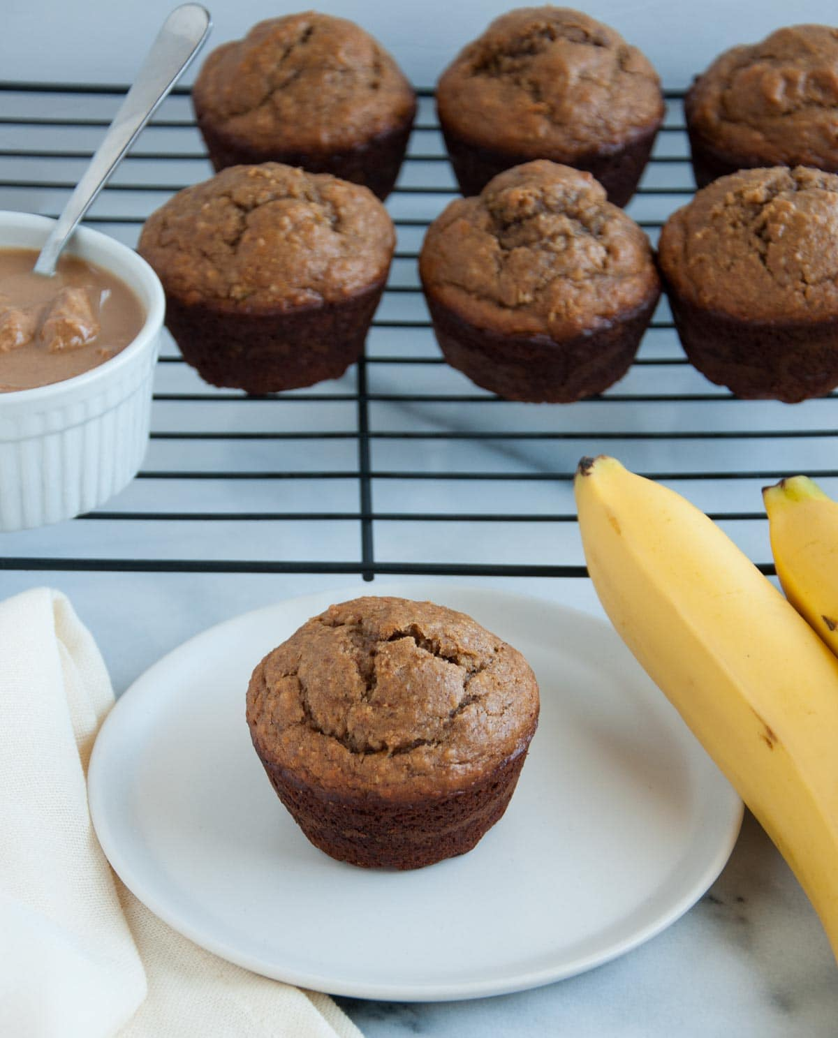 Peanut Butter Banana Muffins with Oat Flour - Feasting not Fasting