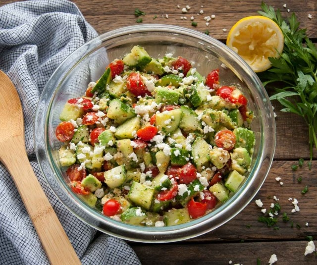 This quick and easy tomato avocado cucumber salad is packed with fresh flavor and is a great side dish to any entree or perfectly delicious on its own.