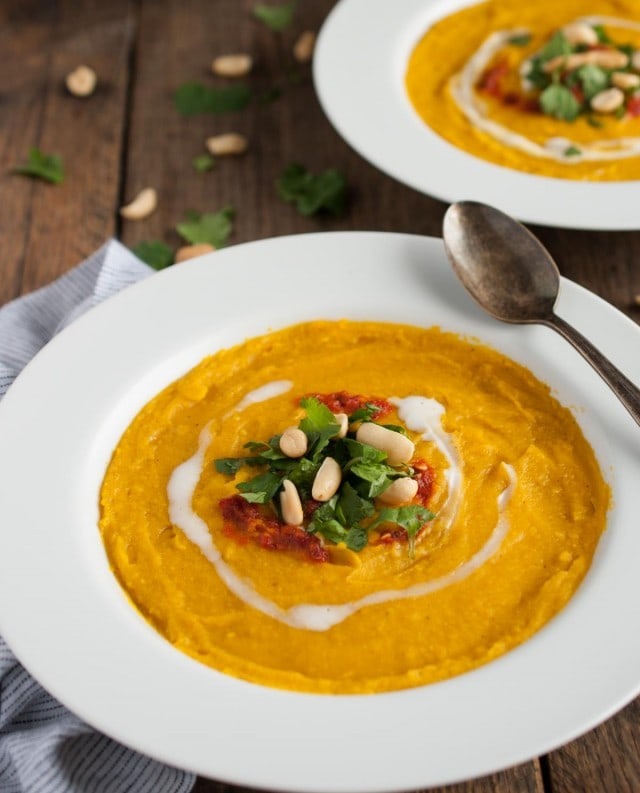 This thick, creamy sweet meat squash soup is naturally vegan, yet extremely filling and delicious! The rich curry flavor is accented with fresh cilantro, chili sauce, and roasted peanuts.