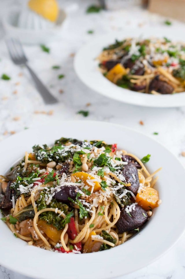This vegetarian roasted vegetable pasta is divine in its simplicity & full of light, garlic lemon flavor with over 20 grams of protein per generous serving.