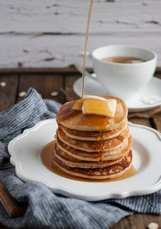 Almond pancakes are delicious, healthy, gluten free, and full of protein! A combo of almond flour, extract, and milk really brings out the almond flavor!