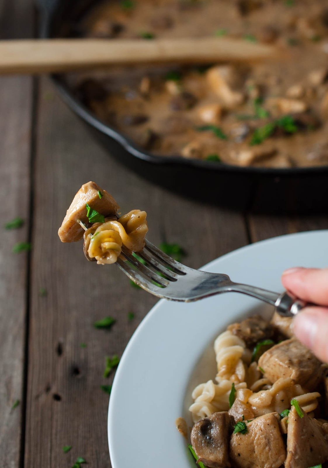Creamy chicken stroganoff is comfort food that is easy enough for a weeknight dinner. This version is lightened up with mushrooms and brown rice noodles.