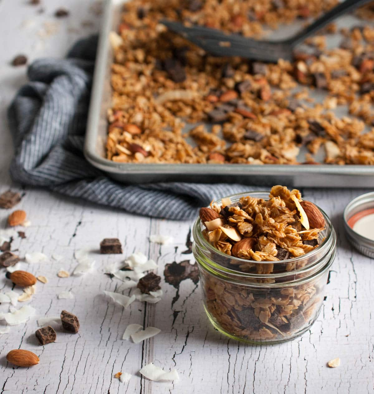 Crunchy chocolate coconut granola with toasty almonds, coconut oil ...