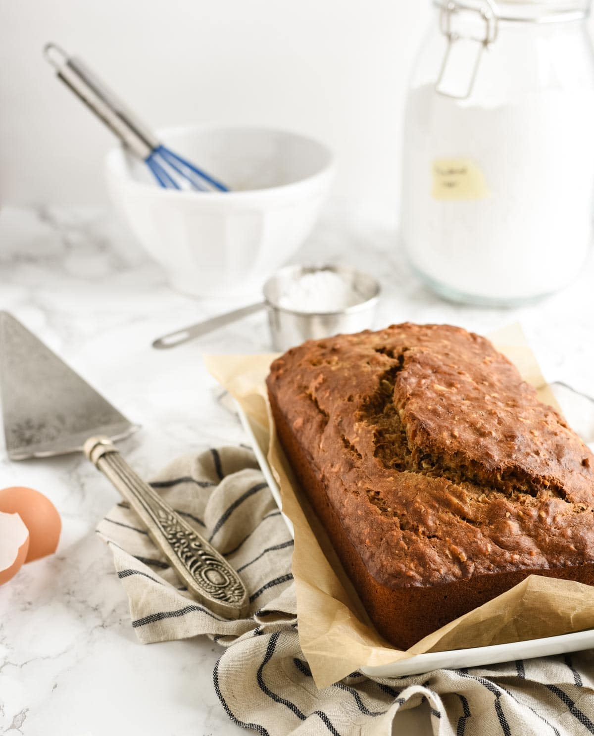 banana bread loaf with ingredients