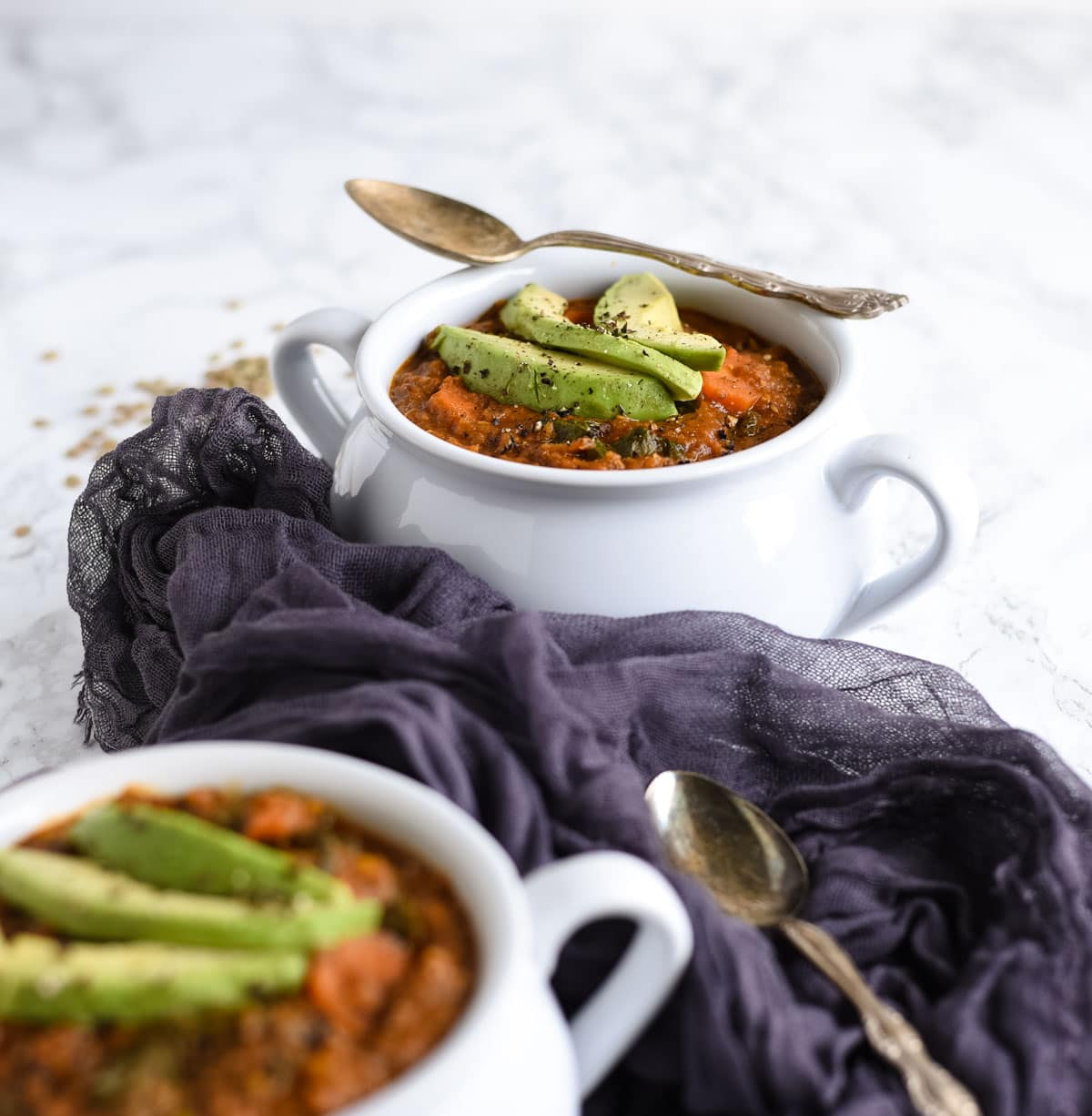 Curry lentil soup with avocado