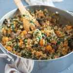 Pan with Brown Rice Risotto with Butternut Squash & Mushrooms