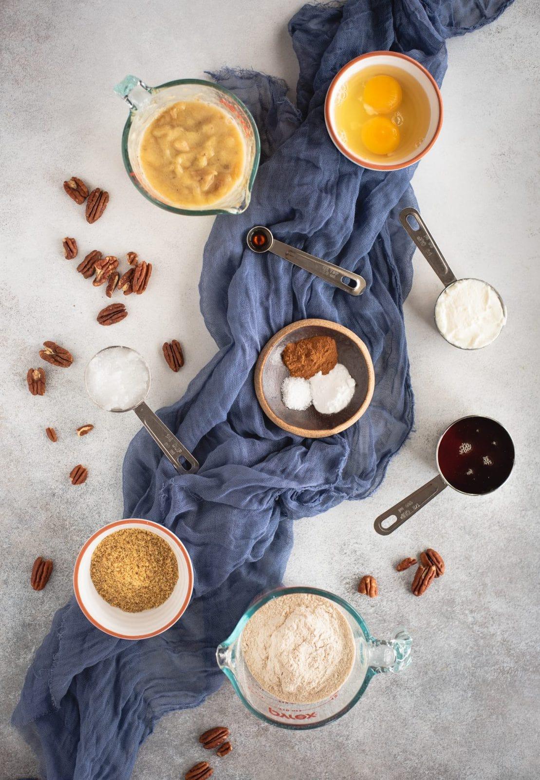 Ingredients for healthy banana bread recipe