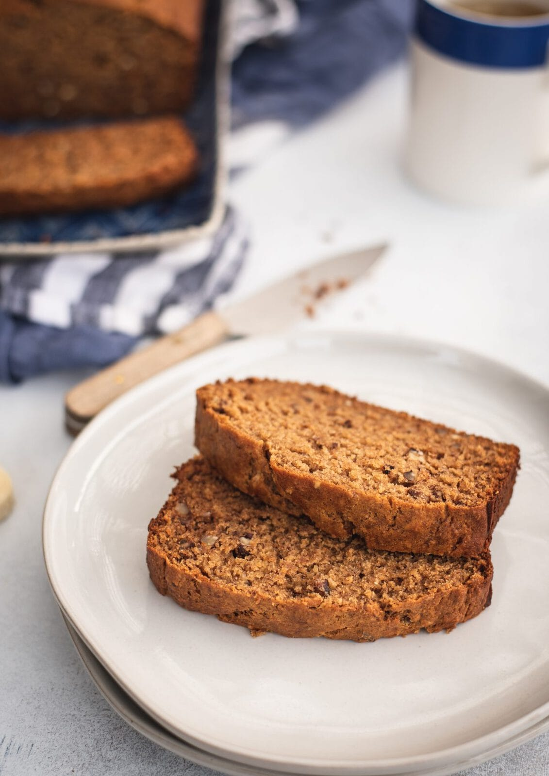 Plate with two slices of healthy banana bread