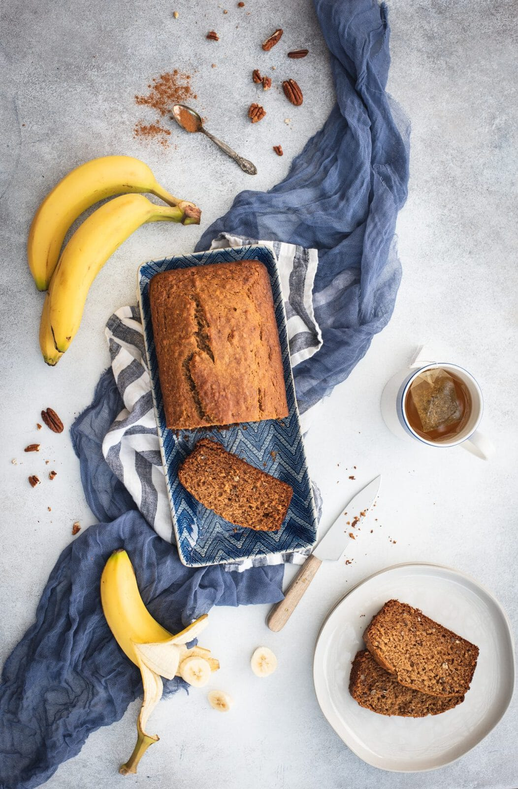 Overhead picture of healthy banana bread