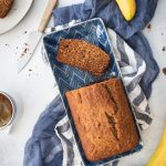 Photo of healthy banana bread loaf with slices