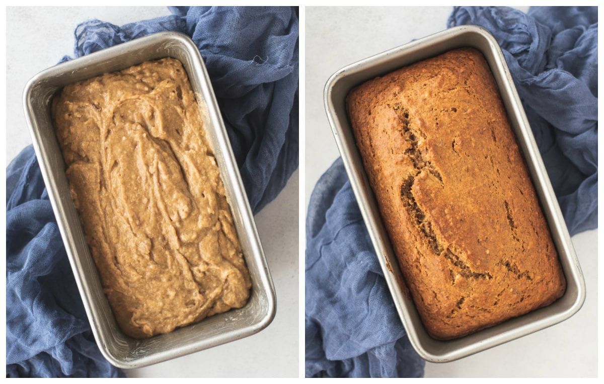 Pan of healthy banana bread before and after baking
