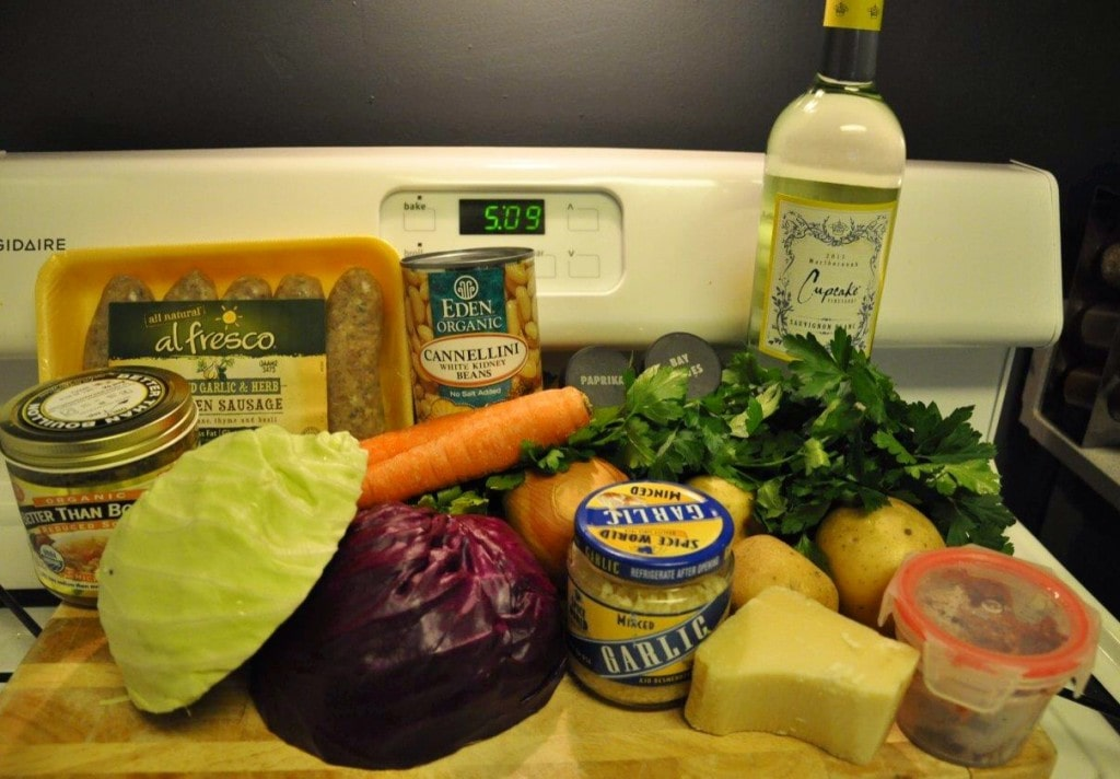 Sausage Cabbage Soup - ingredients