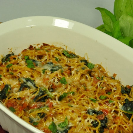 Baked Spaghetti with Fresh Tomatoes and Basil
