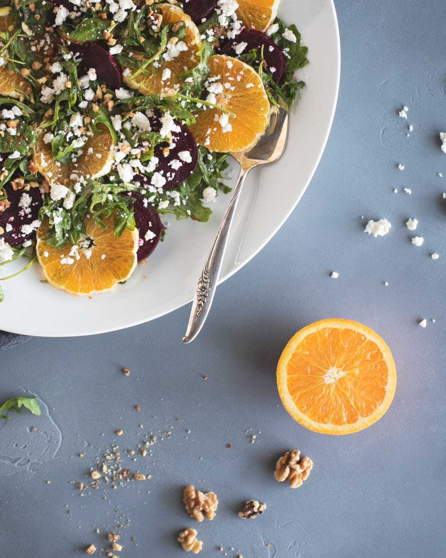 Close up picture of arugula salad