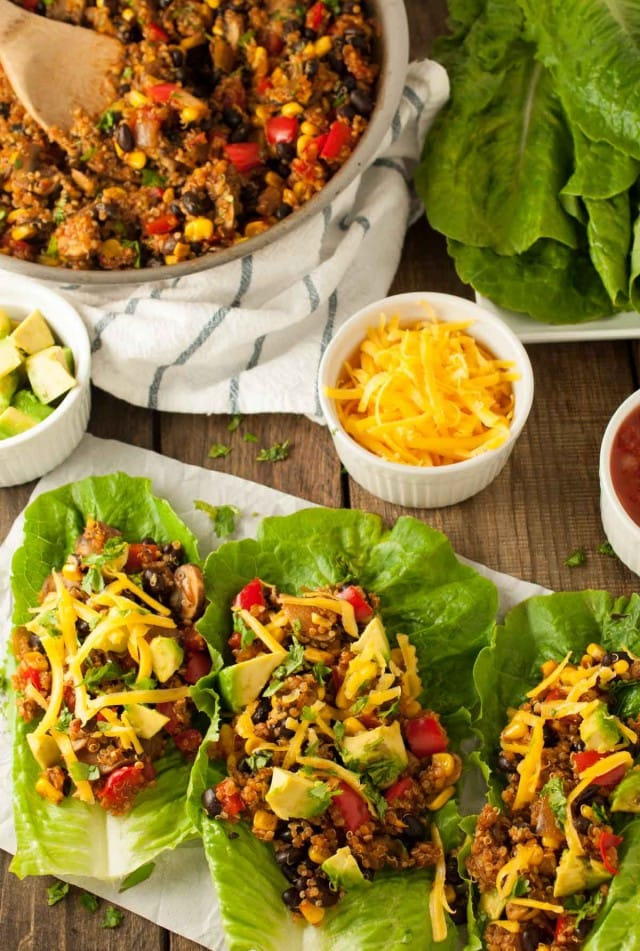 Table with pan and plate of taco vegetarian lettuce wraps