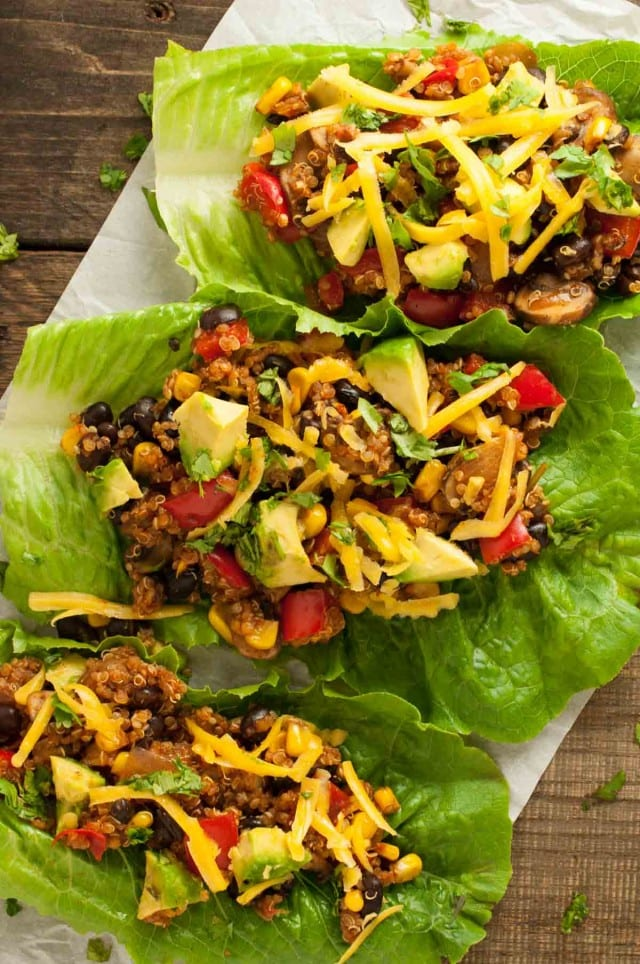 Three taco vegetarian lettuce wraps in a row