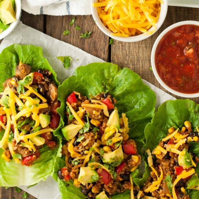 Vegetarian lettuce wraps put a tasty low carb spin on tacos that will keep you full with a whopping 24 grams of protein and 18 grams of fiber per serving!