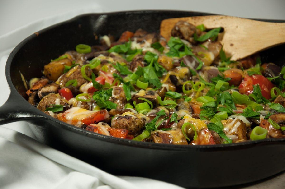 Cheesy Potato skillet - Feasting not Fasting