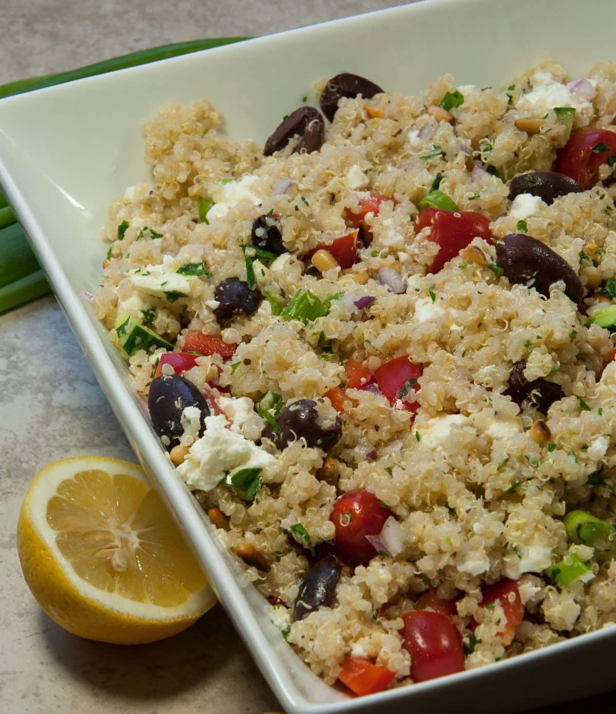 Greek Quinoa Salad - Feasting not Fasting