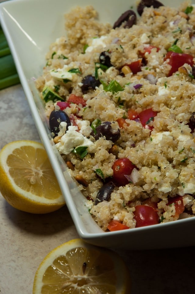 This Greek quinoa salad is filling, full of fresh flavors, and packed with nutrients with only 241 calories and over 8 grams of protein per serving.