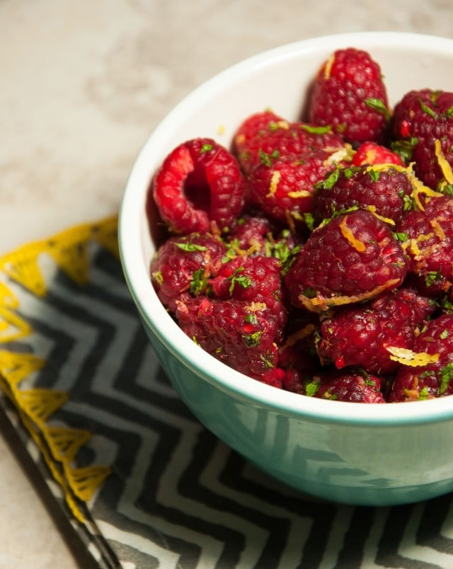 Raspberries with lemon zest and mint are the perfect fresh, healthy desert to satisfy your sweet tooth without the calories.