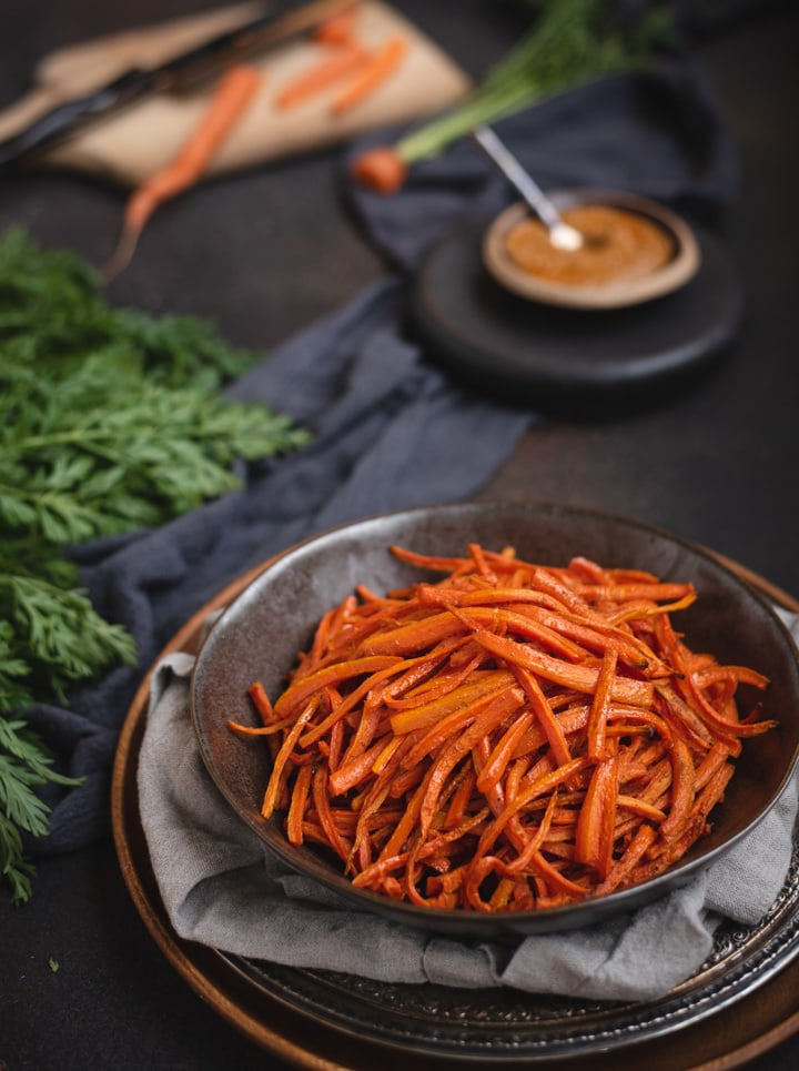 close up bowl of carrot fries