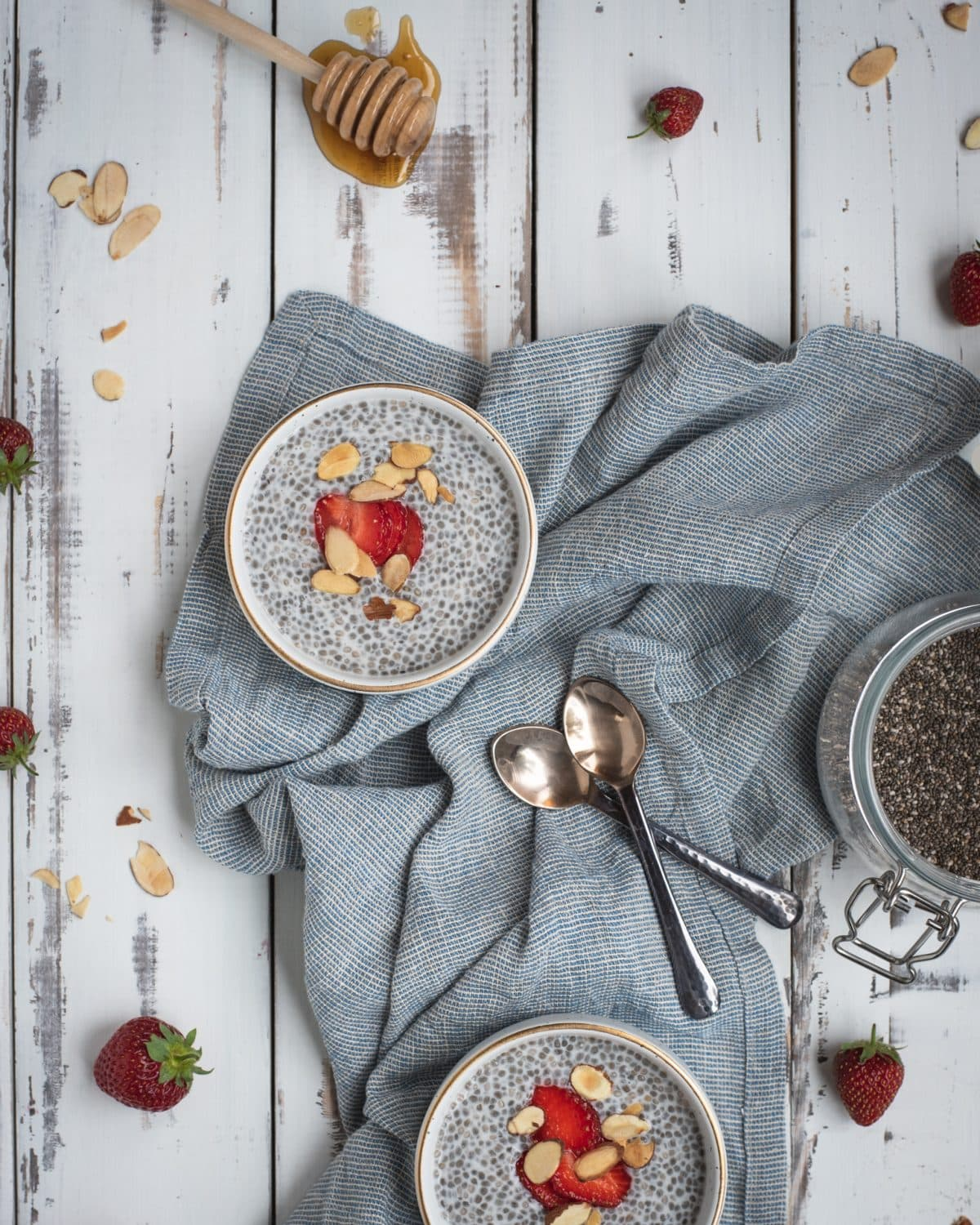 Overhead photo of almond chia seed pudding