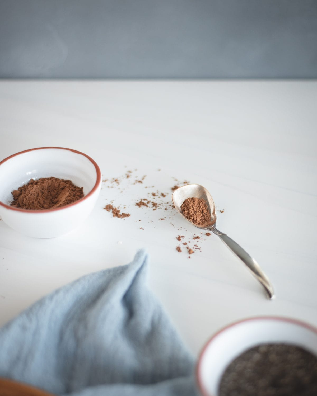cocoa powder in a white bowl