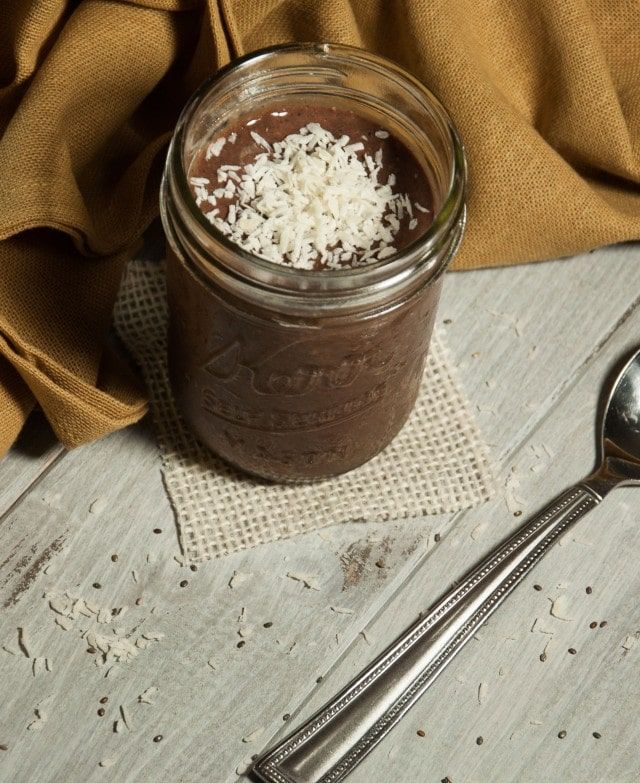 Almond joy chia seed pudding is a delicious and healthy make-ahead breakfast that will start your day off right with over 11 grams of protein and 14 grams of fiber.