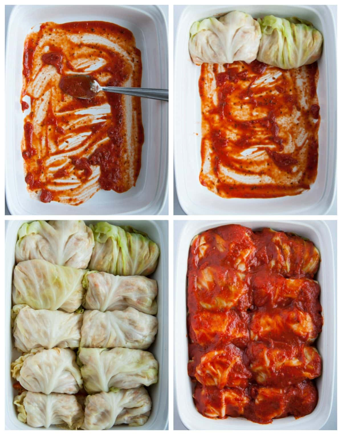step by step for putting turkey cabbage rolls into baking dish