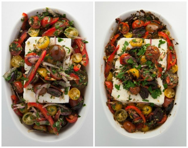 Mediterranean baked feta is roasted to perfection with fresh herbs, tomatoes, olives, and a drizzle of olive oil. This is an appetizer everyone loves!