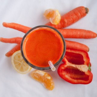 Fresh carrot juice with zesty red pepper, sweet orange juice, and a tangy lemon undertone is an immunity booster, loaded with Vitamin C.