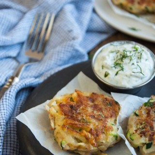 Zucchini Cakes with Dill Yogurt Dipping Sauce