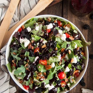Summer Salad with Feta, Pecans, Basil, and Blackberry Vinaigrette