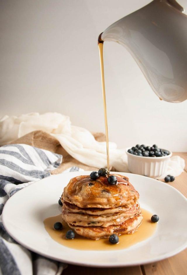 Whole Wheat Yogurt Pancakes (with blueberries!)-212-1