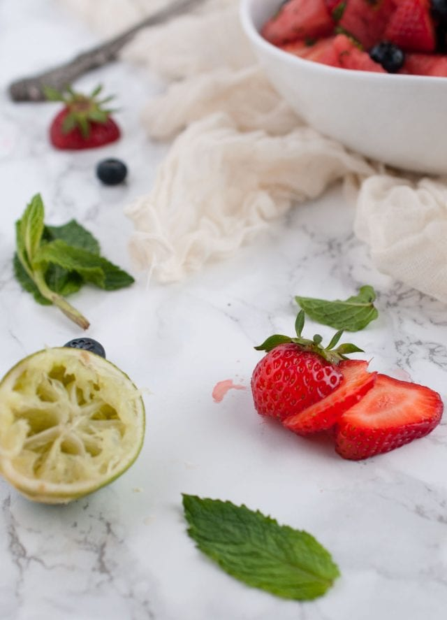 Watermelon mint salad is a refreshing side dish for any summer BBQ with lime adding a pop of unexpected flavor that makes this a surefire winner.