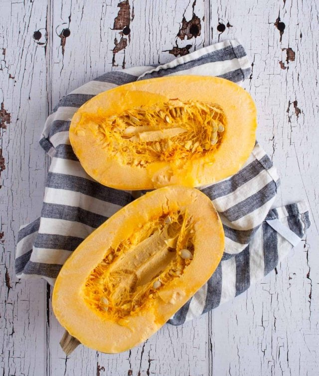 Roasted spaghetti squash is the perfect low carb pasta substitute with five times less calories, a smooth buttery flavor, and endless ideas for toppings.
